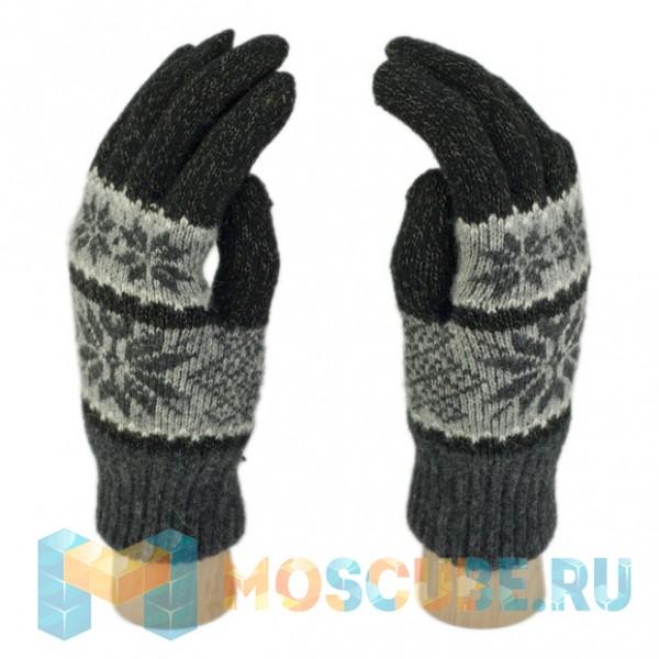 Сенсорные Перчатки Анд. (Cнежинки) - Серо-черный