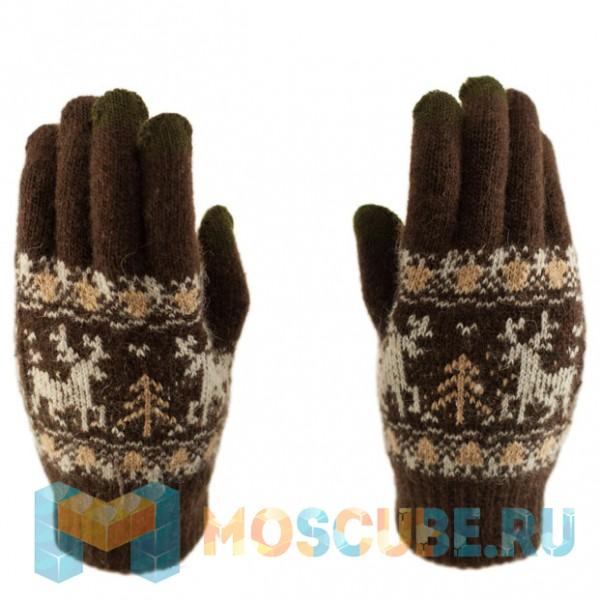 Сенсорные перчатки Олени (Коричневый)
