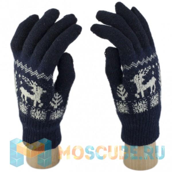 Шерстяные Перчатки сенсорные Олень (синий)