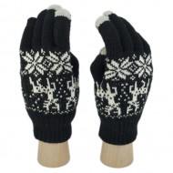 Сенсорные Перчатки Олени и Снежинки (Черный)