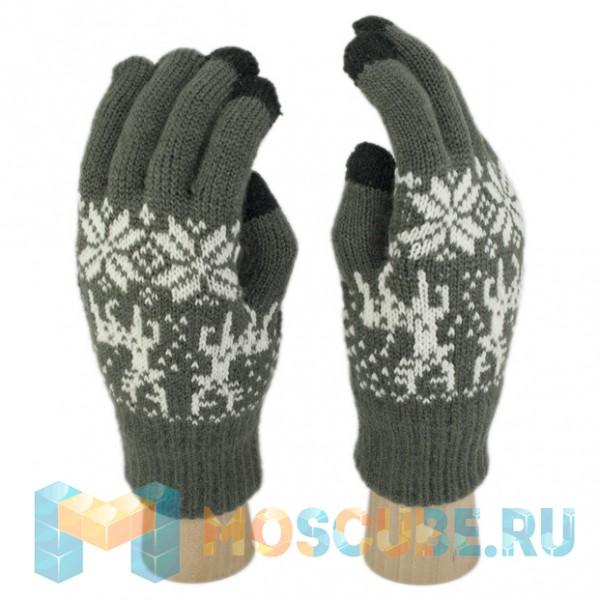 Сенсорные перчатки Олени и Снежинки (Темно-серый)