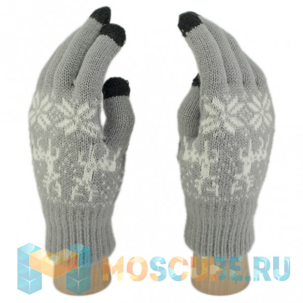Сенсорные перчатки Олени и Снежинки (Серый)