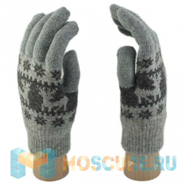 Шерстяные Сенсорные перчатки Олени (Серый)