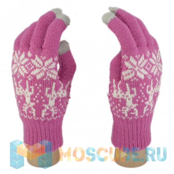 Сенсорные Перчатки Олени и Снежинки (Розовый)