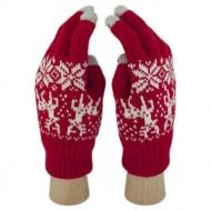 Сенсорные Перчатки Олени и Снежинки (Красный)