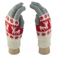 Шерстяные Сенсорные перчатки Олени (Бело-серо-красные)