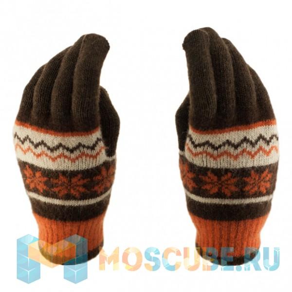Сенсорные перчатки Снежинки Коричневый/оранжевый