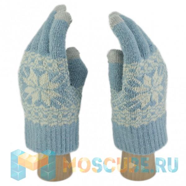 Сенсорные Перчатки Снежинка Л. (светло-голубой)