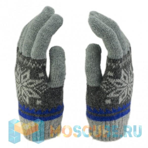 Сенсорные Перчатки Снежинка (Cеро-синий)