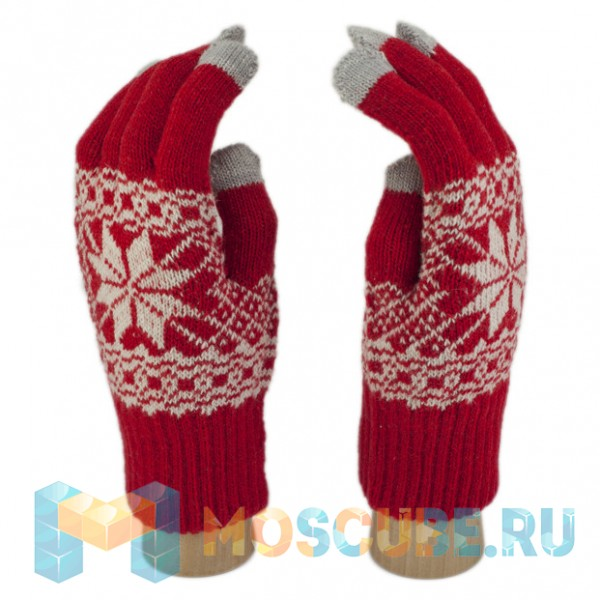 Сенсорные Перчатки Снежинка Л. (красный)