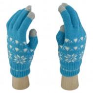 Сенсорные Перчатки Снежинки (Голубой)