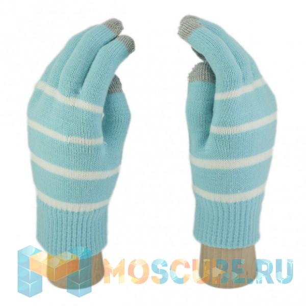 Сенсорные Перчатки Полоска (Голубой)