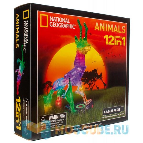 Конструктор Laser Pegs National Geographic Животные 12 в 1 NG200