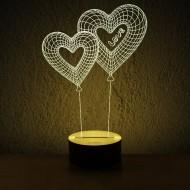 """3D светильник """"Сердца"""""""